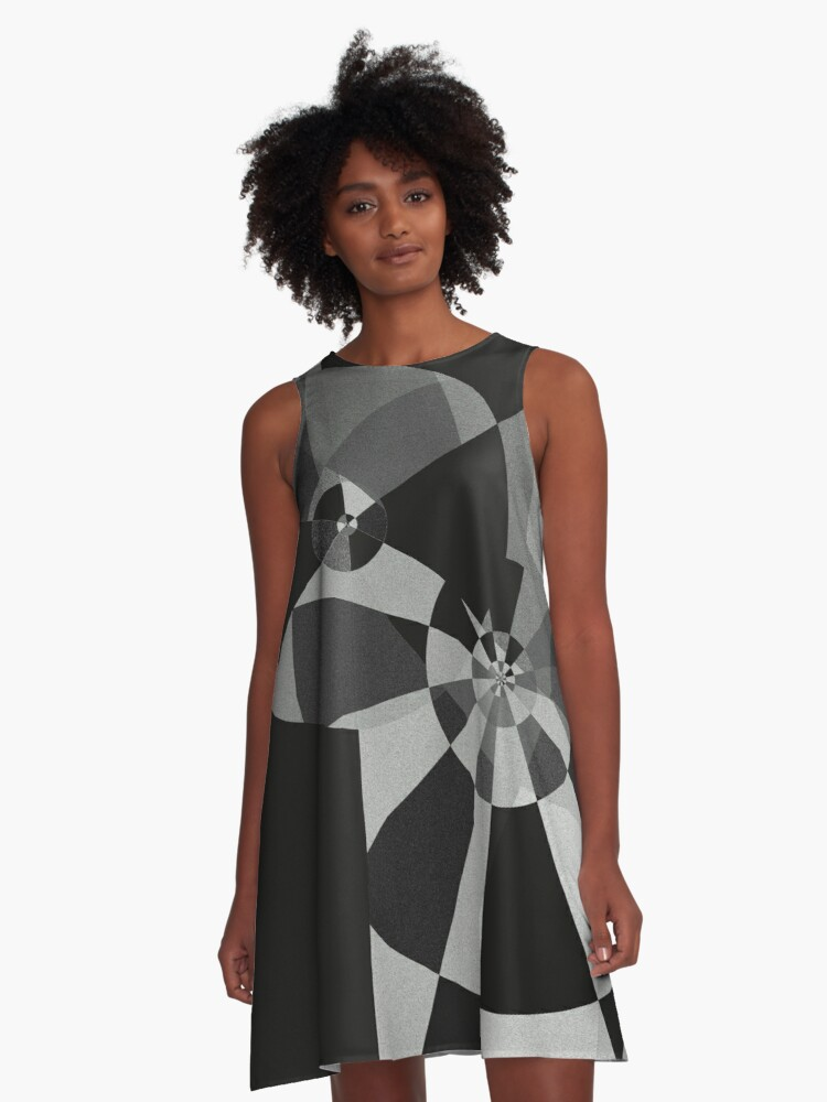 black and white pinwheel abstract A-Line Dress Front