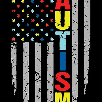Autism Awareness T-Shirt - American Flag Puzzle Piece by phatuqua