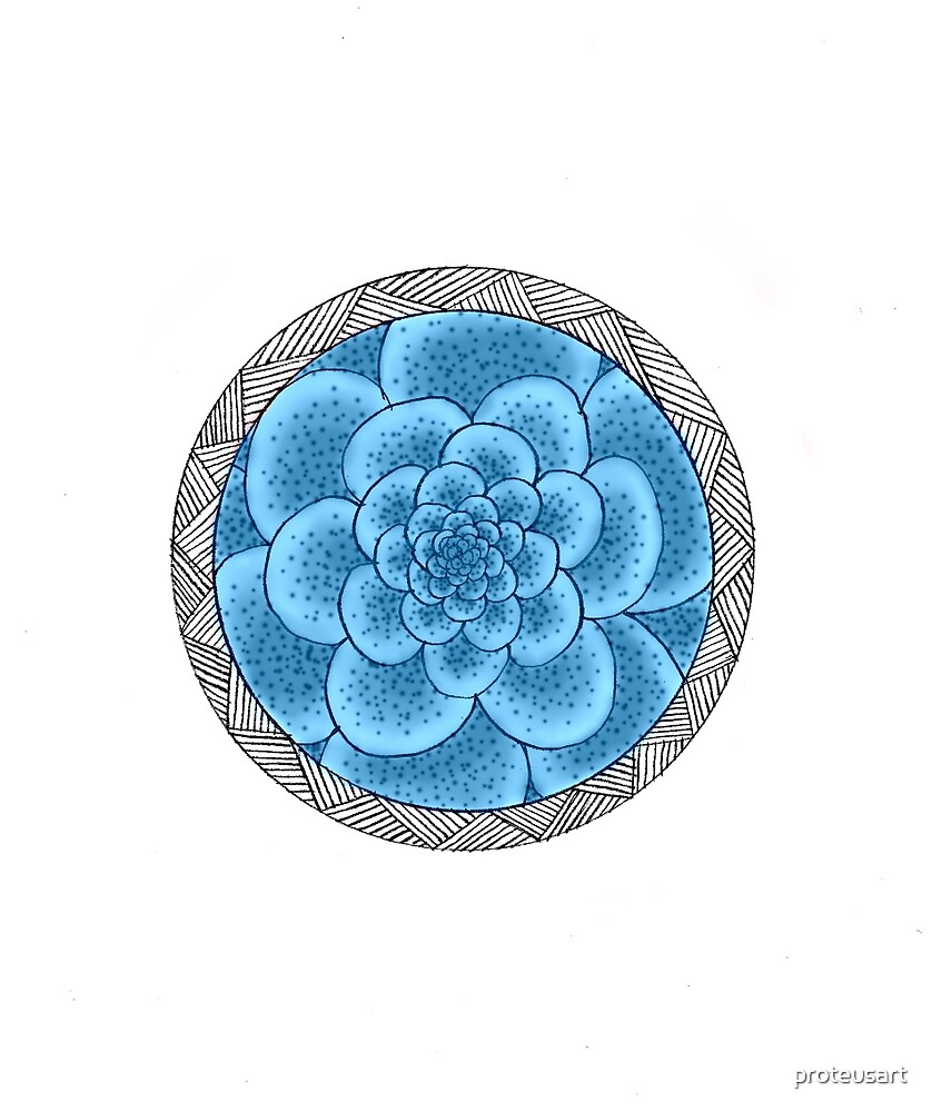 flower with striped round blue by proteusart