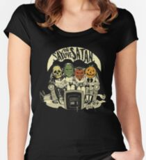 Say You Love Satan 80s Horror Podcast Logo Women's Fitted Scoop T-Shirt