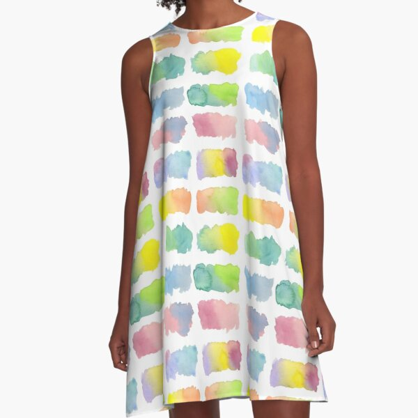 Hand-Painted Watercolor Colorful Gradation Rainbow Labels A-Line Dress