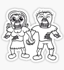 glückliches paar liebe verliebt pärchen frau mann untoter monster halloween horror comic cartoon design zombie  Sticker
