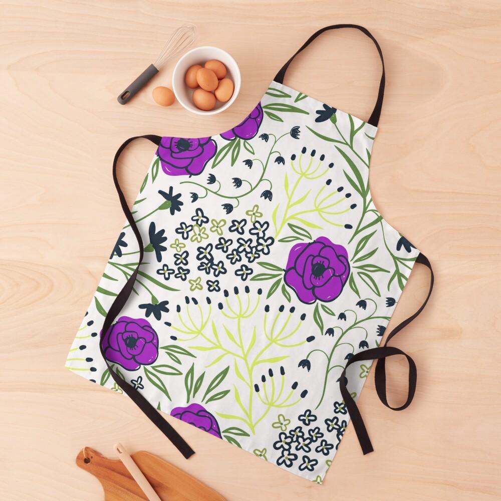 Aisha - Purple And Yellow Flower Print Apron