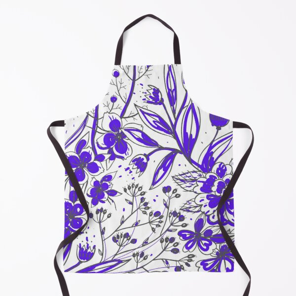 Simona - Purple Flower Print Apron