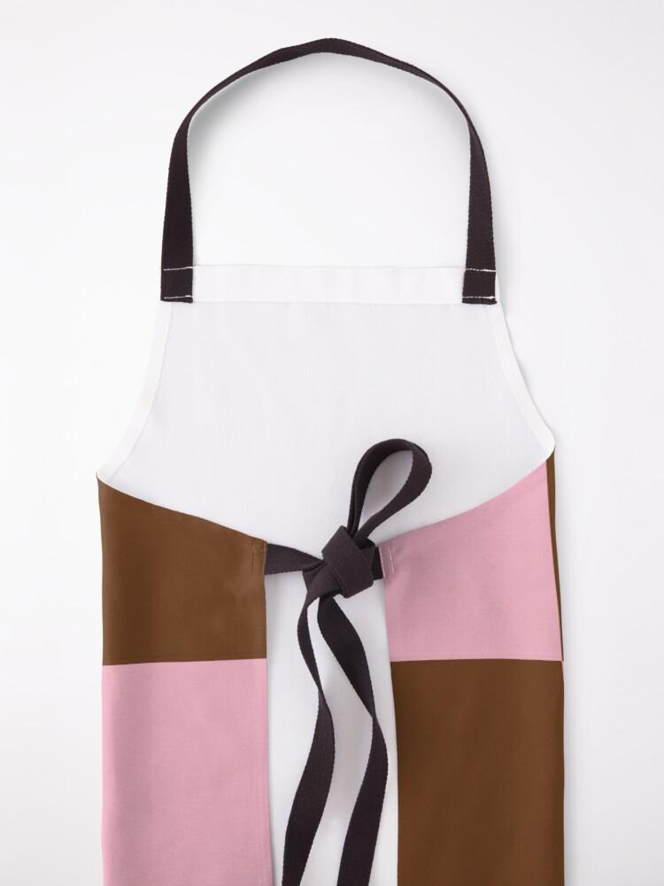 Alternate view of Zeliha - Pink Brown Checkered Print Apron