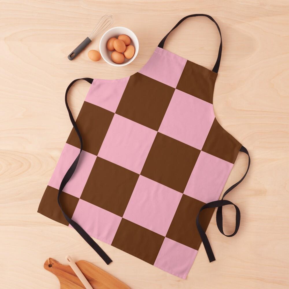 Zeliha - Pink Brown Checkered Print Apron