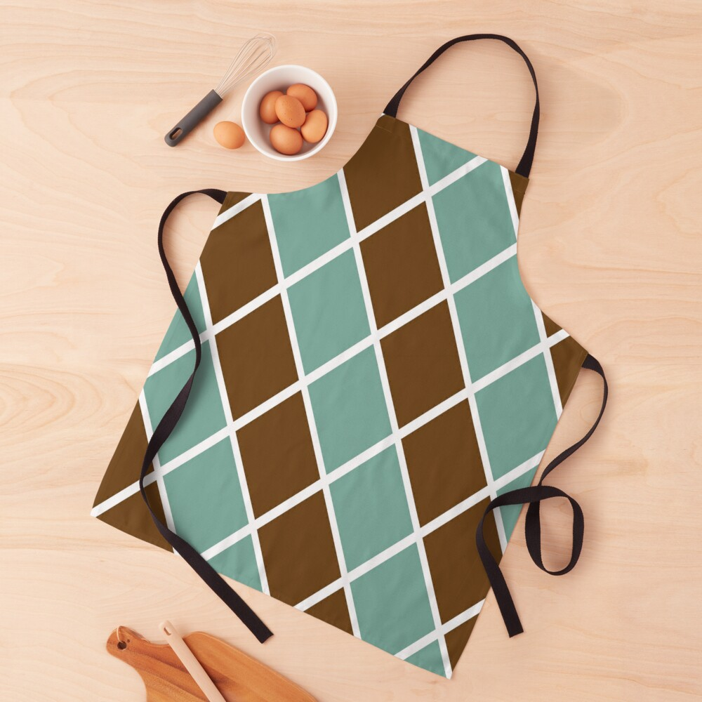 Notthing Hill - Green And Brown Checkered Print  Apron