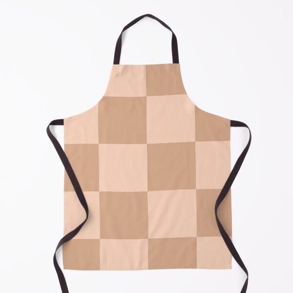 Ali - Tan Beige Checkered Print Apron