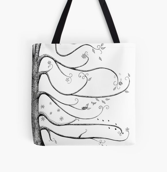 Four Seasons Tree Ink Illustration in Black and White All Over Print Tote Bag