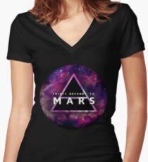 30 Seconds to Mars: Galaxy Design Women's Fitted V-Neck T-Shirt