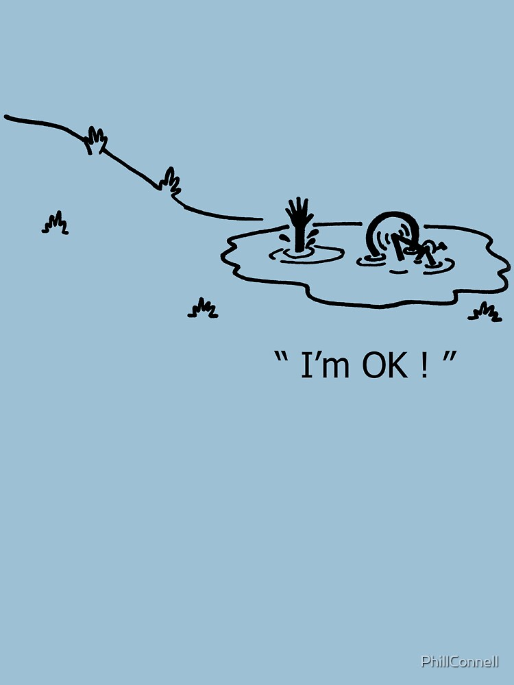 """I'm OK!"" Cycling Crash Cartoon by PhillConnell"