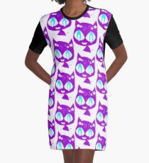 Purple kitten Graphic T-Shirt Dress