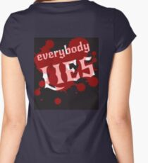 Everybody lies. Bloodstains and white lettering on a black background. Vector. Women's Fitted Scoop T-Shirt