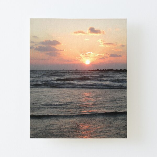 Sunset Over The Beach Canvas Mounted Print