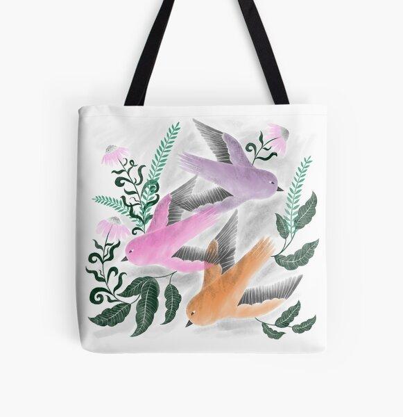 three Spring birds illustration All Over Print Tote Bag
