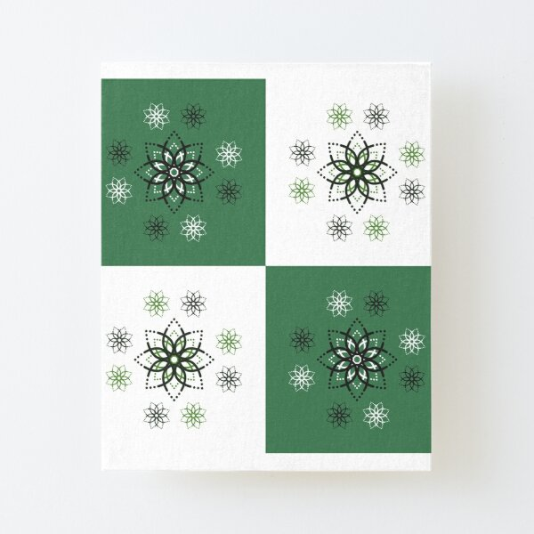 Geometric Flower Pattern Canvas Mounted Print