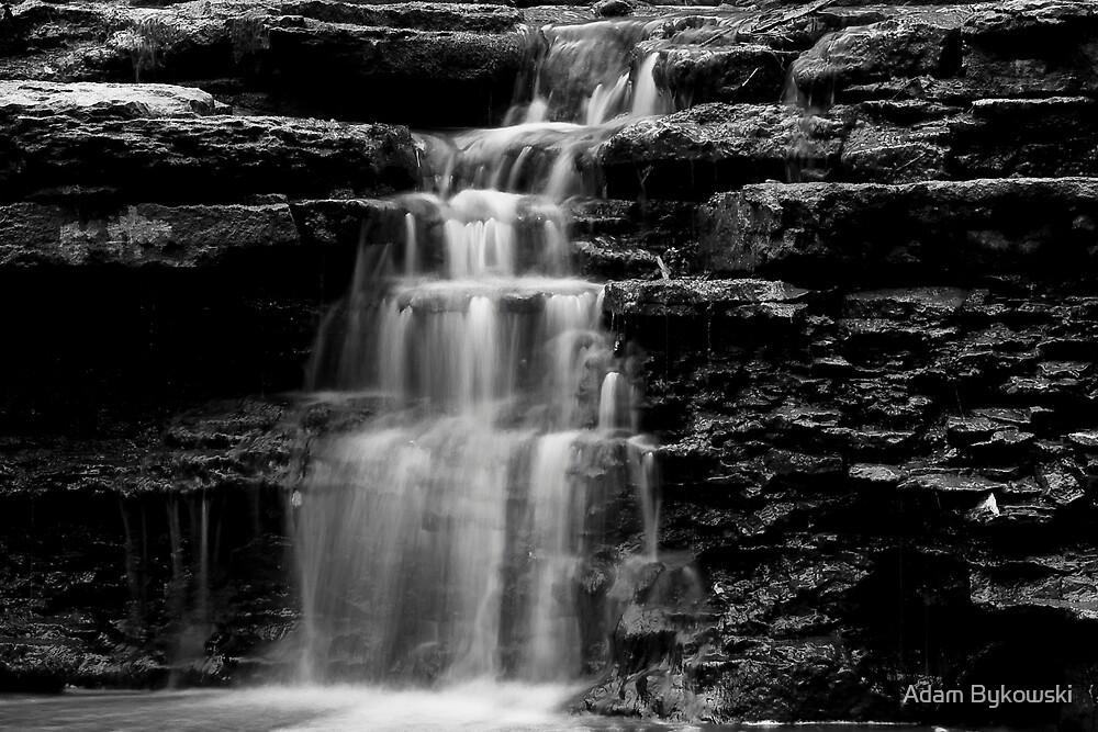 Waterfall in B & W by Adam Bykowski