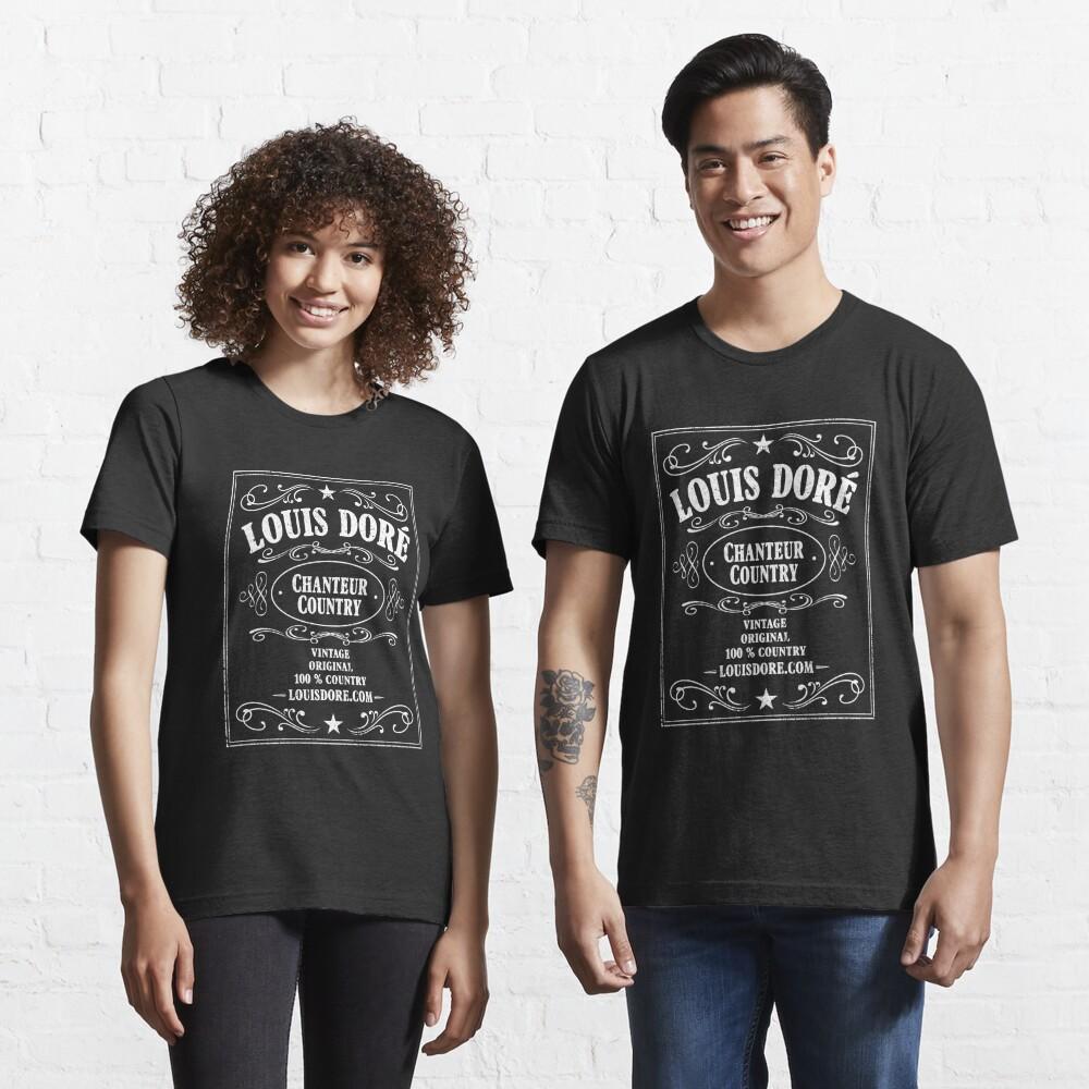 T-shirt essentiel «LOUIS DORÉ CHANTEUR COUNTRY LOGO WHISKY BLANC»
