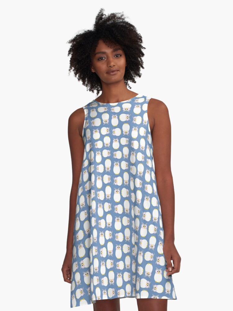 White Owls on Blue - Print A-Line Dress Front