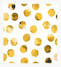 Hand drawn watercolor pattern  with watercolor golden spots. Photographic Print