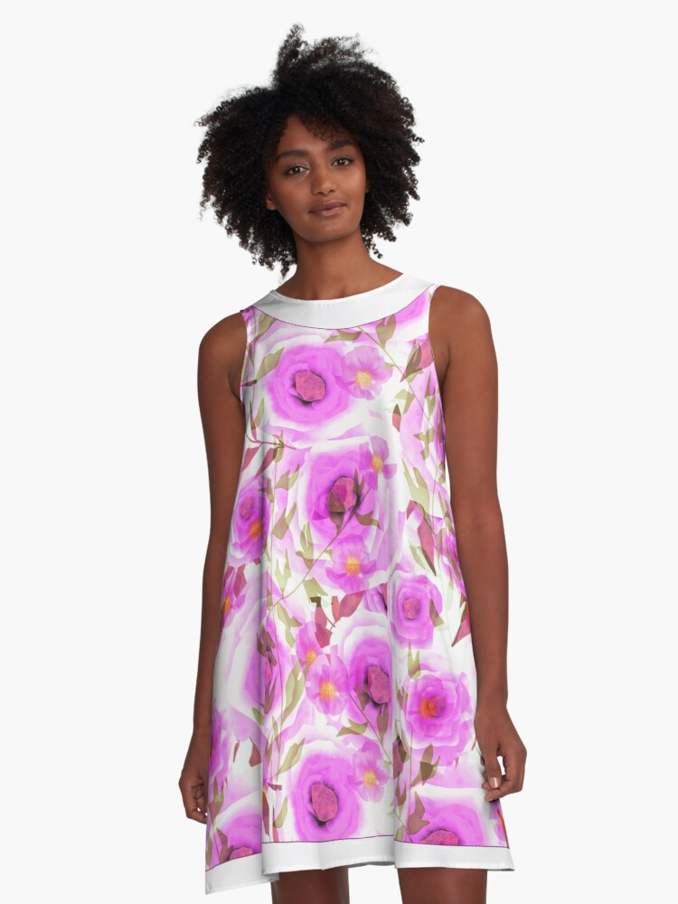 The floral pattern . A-Line Dress Front