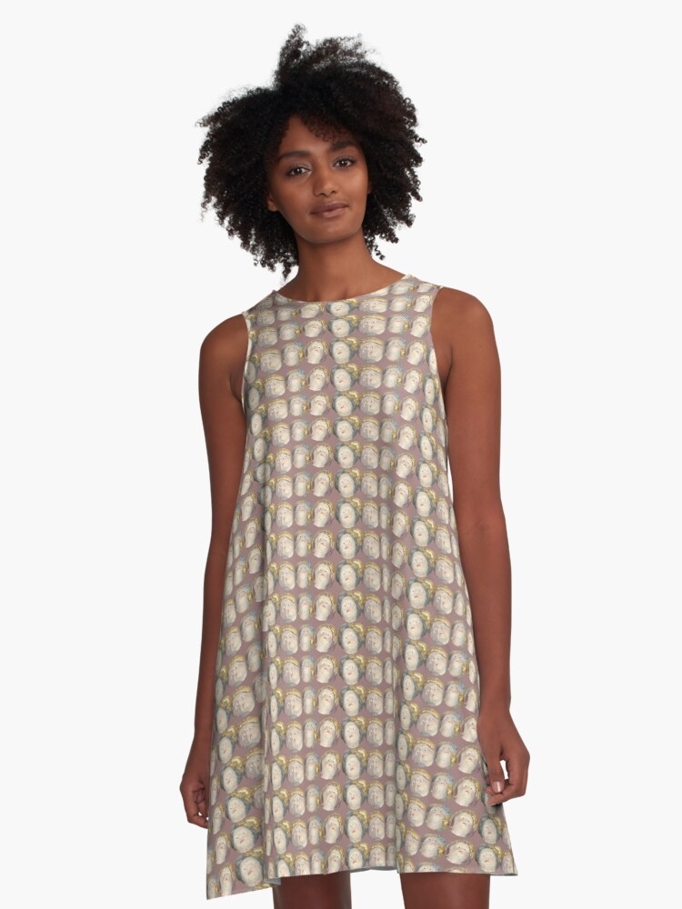 Four Heads in Brown A-Line Dress Front