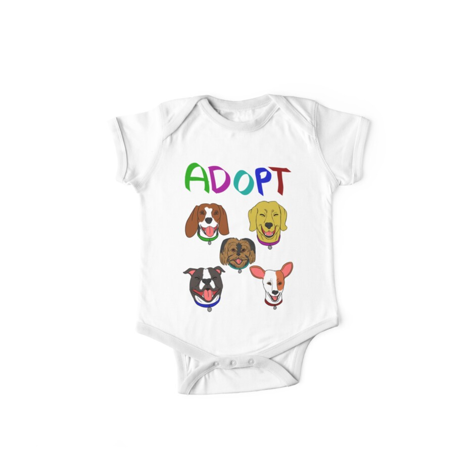 """ADOPT DOGS"" One Piece - Short Sleeve By ErinA2"