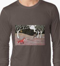Stargazing - Fox in the Night - original linocut by Francesca Whetnall Long Sleeve T-Shirt