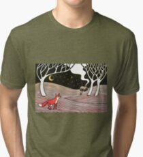 Stargazing - Fox in the Night - original linocut by Francesca Whetnall Tri-blend T-Shirt