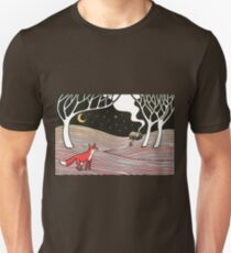 Stargazing - Fox in the Night - original linocut by Francesca Whetnall Unisex T-Shirt
