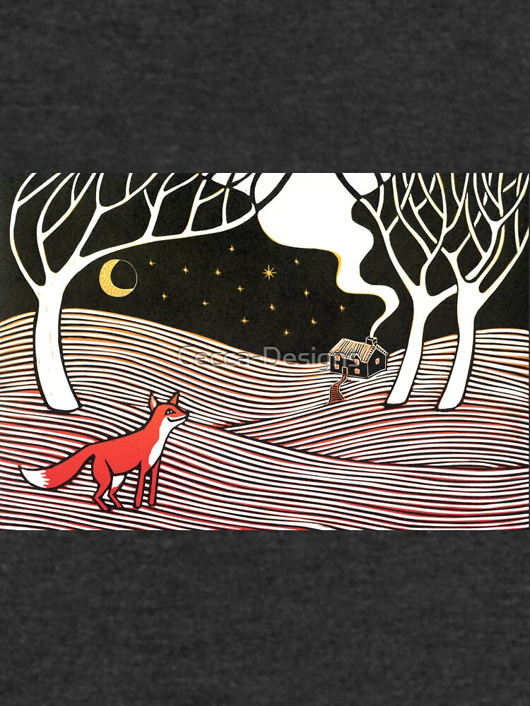 Stargazing - Fox in the Night - original linocut by Francesca Whetnall by Cecca-Designs