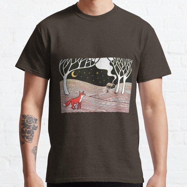 Stargazing - Fox in the Night - original linocut by Francesca Whetnall Classic T-Shirt