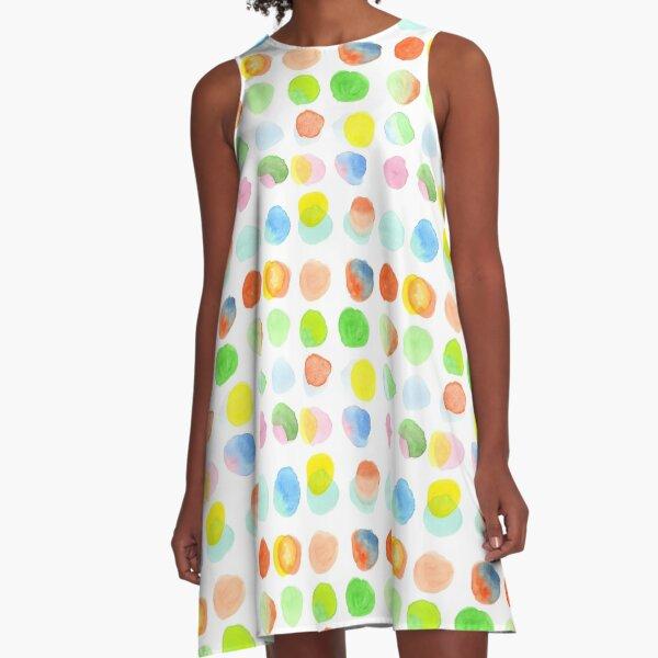 Hand-Painted Watercolor Colorful Polka Dots Rainbow Circles A-Line Dress