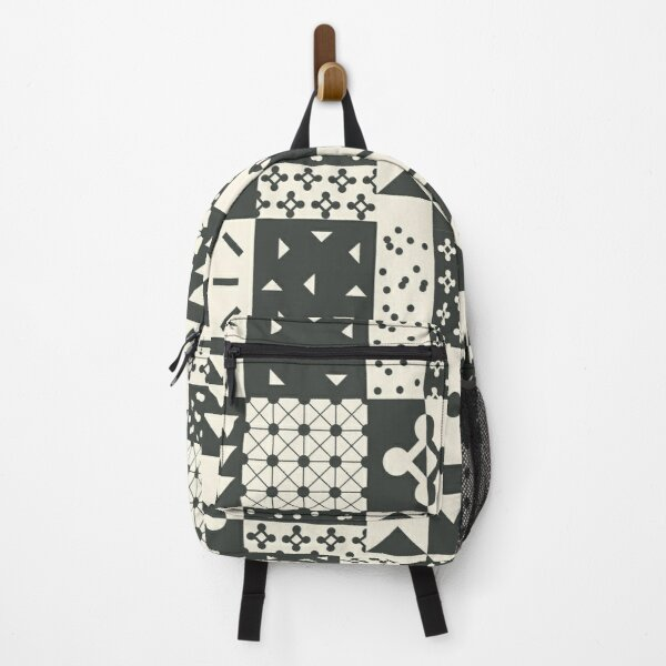 Geometric Patchwork in black and white Backpack