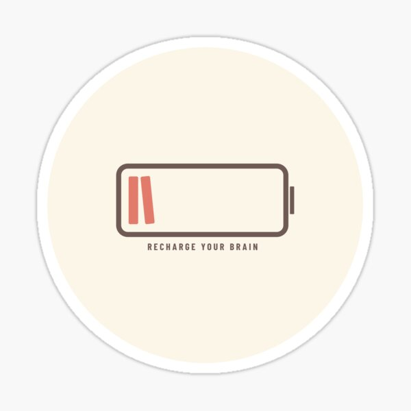 Recharge Your Brain with Books (Latte Edition) Sticker