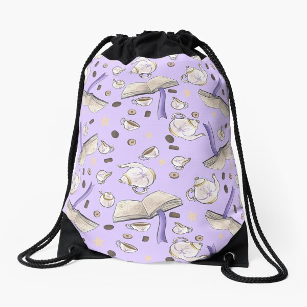 Tea and Spellbooks Repeat Drawstring Bag
