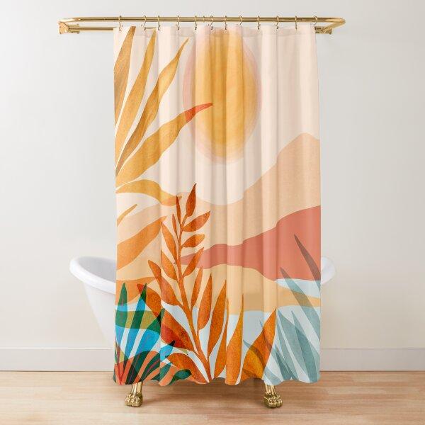 Golden Greek Garden Landscape Illustration Shower Curtain