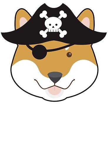 Pirate Doge Shiba Inu T Shirt by bitsnbobs