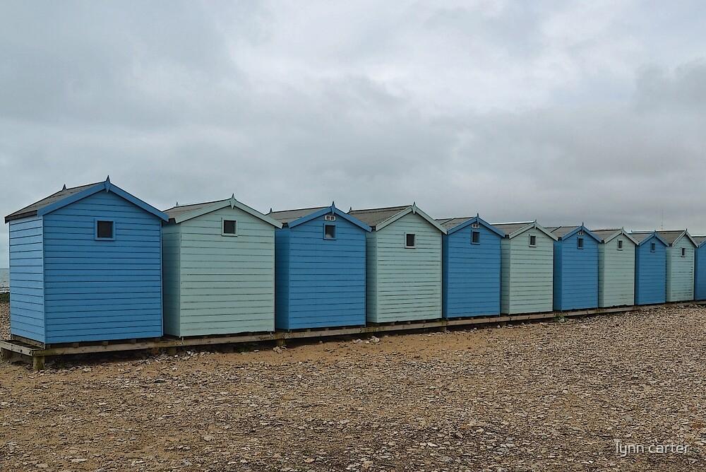 Blue Beach Huts........... by lynn carter