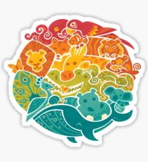 Animal Rainbow - cream Sticker