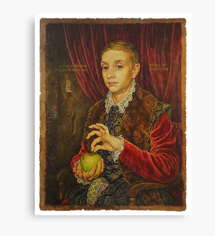 Boy With Apple Canvas Print