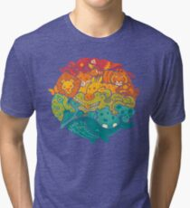 Animal Rainbow - cream Tri-blend T-Shirt
