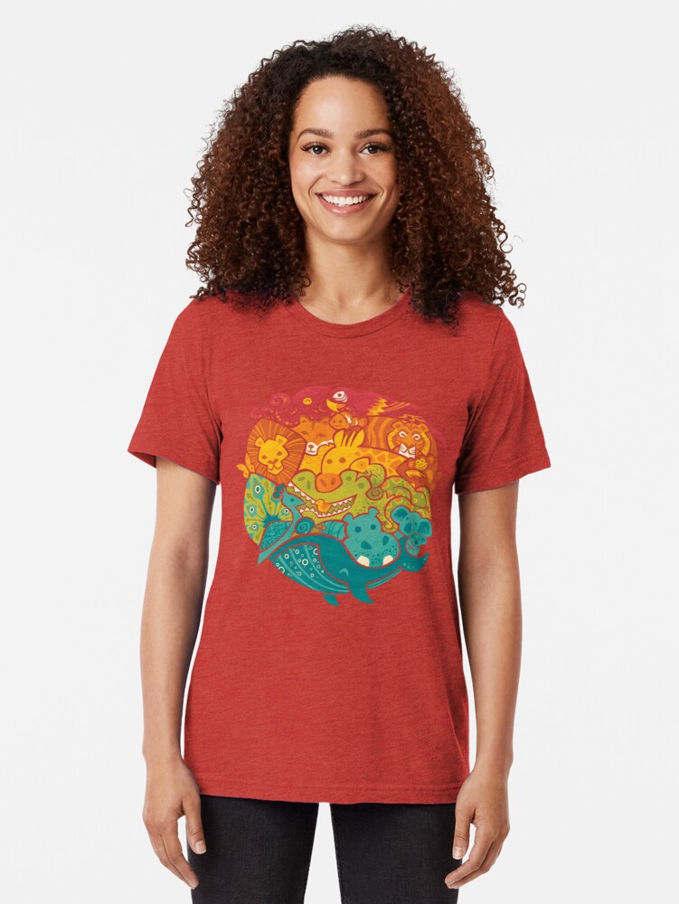 Alternate view of Animal Rainbow - cream Tri-blend T-Shirt