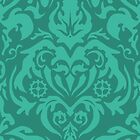 Steampunk Damask in Greenish Teal by SweetIngenuity