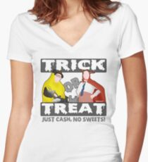 Bottom Halloween 'Trick Or Treat' Design Women's Fitted V-Neck T-Shirt