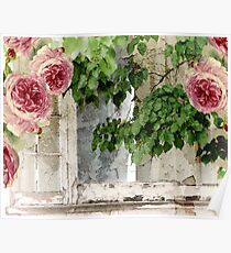 Cottage Window Shabby Roses Poster