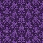 Skull Damask in Purples by SweetIngenuity