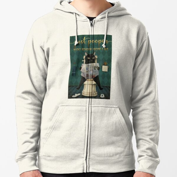 Cat Just Poopin You Know How I Be Newspaper Zipped Hoodie