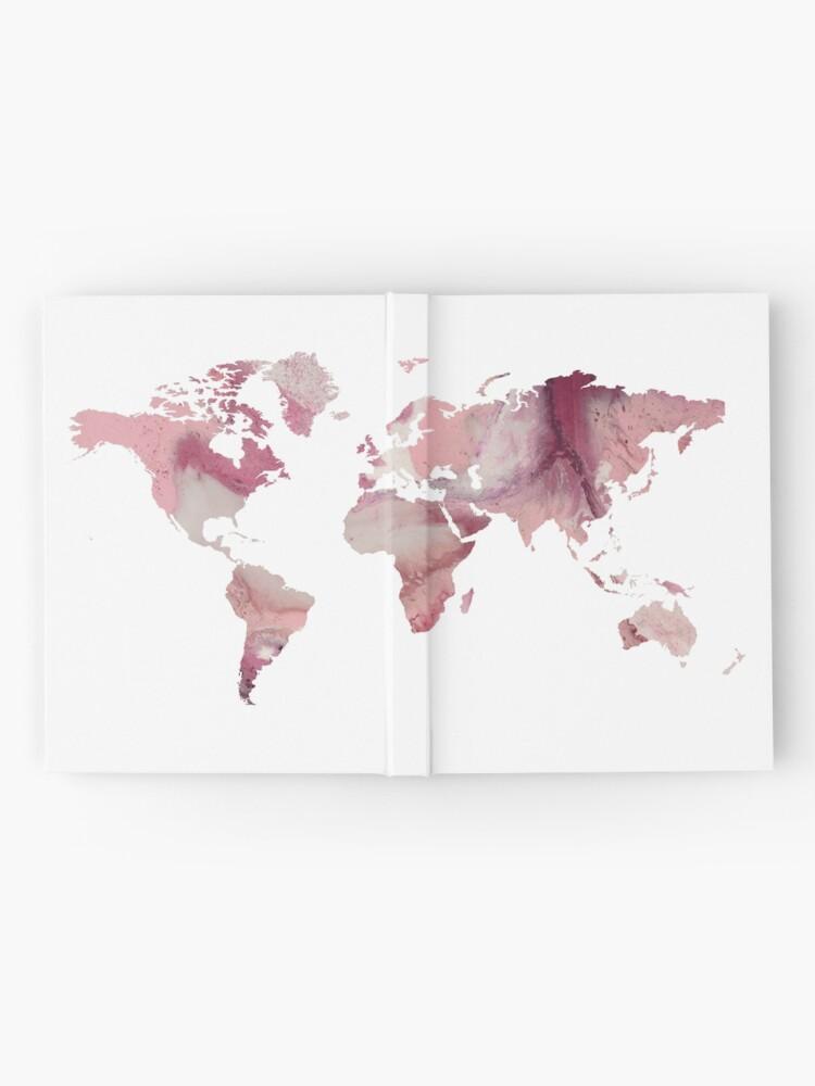 Weltkarte Rosa Marmor Notizbuch Von Taliafaigen Redbubble