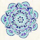 Royal Blue, Teal, Mint & Purple Mandala Flower by Tangerine-Tane